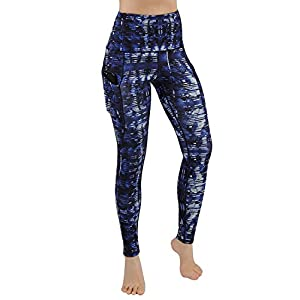 ODODOS High Waist Out Pocket Printed Yoga Pants Tummy Control Workout Running 4 Way Stretch Yoga Leggings