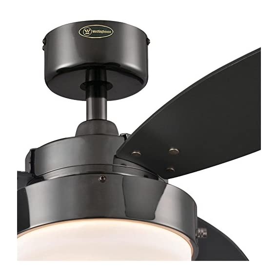 Westinghouse Lighting 7876400 Alloy 42-Inch Gun Metal Indoor Ceiling Fan, Light Kit with Opal Frosted Glass - Contemporary Indoor 42-inch ceiling fan is ideal for small rooms up to 100 square feet (10 feet by 10 feet) 153-millimeter by 10-millimeter silicon steel motor with dual capacitor; three fan speeds (high/medium/low); reversible switch for year-round use Fan Performance on High SpeedAirflow: 2, 897 cfm; Energy Usage: 53 watts without light; Airflow Efficiency: 55 cfm per watt - kitchen-dining-room-decor, kitchen-dining-room, chandeliers-lighting - 41M9Mk1pg1L. SS570  -