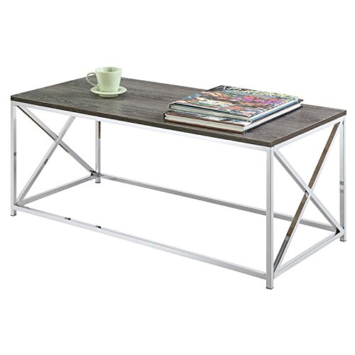 Convenience Concepts Belaire Coffee Table, Chrome/Weathered Gray