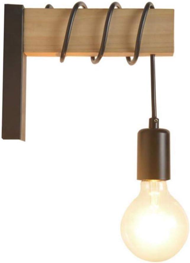 Lámpara de pared de hierro industrial de madera, lámpara de pared, creativa, polea de elevación, luz de pared, accesorio para iluminación de interior, granero, restaurante