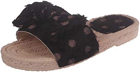 Damen Hausschuhe Sandalen Pantoletten Schleifen Korkoptik Pantoffeln Weiche Flache Schuhe Indoor/Outdoor Sommerschuhe Boho Clip Toe Flip Flop Strandschuhe (EU:42, Schwarz)
