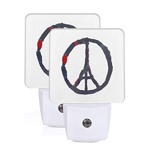 Peace for Paris France Eiffel Tower LED Night Light Lamp Bed Lamp Set of 2 with Dusk to Dawn Sensor