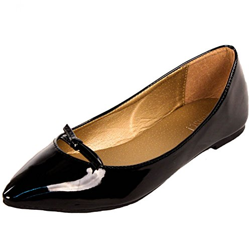 Toast! Women's Faux Patent Leather Ponted Toe Black Ballet Flats 8 B(M) US
