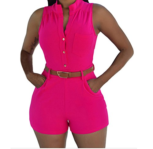 YFFaye Rosy Button Front Belted Romper M (Themes For Dressing Up In Groups)