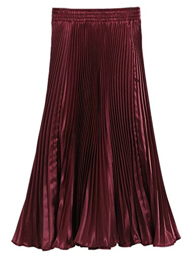 Long Skirt Metallic Pleated Broomstick High Waist Western Midi Skirts Red ()