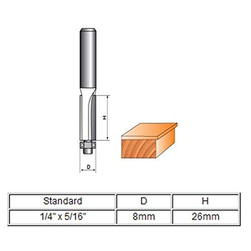 1//4x 5//16 2-Flute Flush Trim Trimming Router Drill Bit Cutting Tool