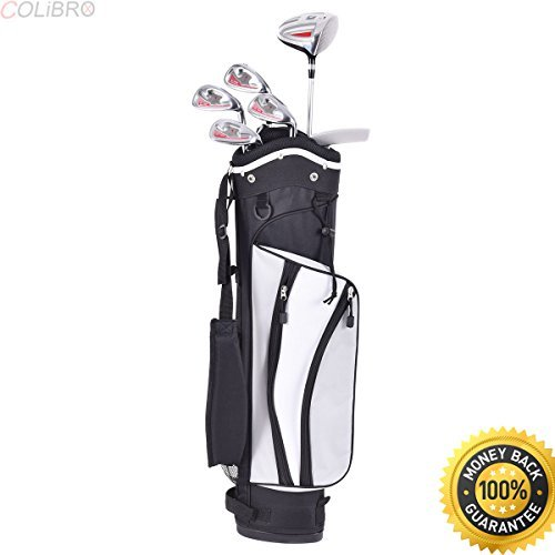COLIBROX--New 6 Piece Golf Club Set for Kids Wood Iron Putter w/Stand Bag Age 11-13 Silver. varsity golf clubs. junior golf clubs for sale amazon. junior golf club sets 12-14. best toddler golf clubs.