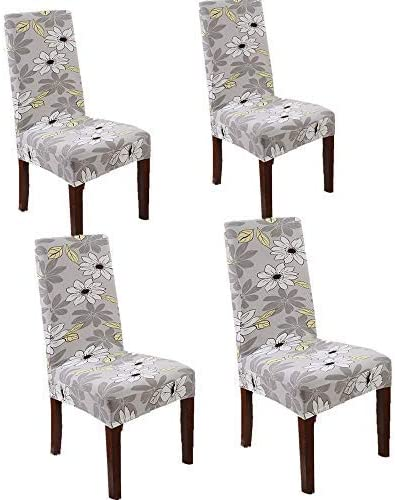 Falimoo Removable Universal Stretch Elastic Dining Chair Protector Covers Slipcover for Dining Room, Hotel, Banquet, Ceremony 4 Packs (Spring Garden)