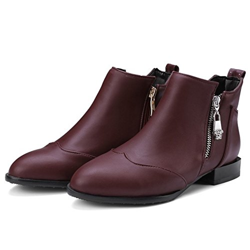 COOLCEPT Mujer Moda Low Planos Tobillo Botas With Cremallera 33 Wine Red