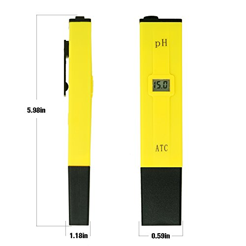 PH Meter, Daugee Pocket Size 0.01 PH High Accuracy Water Quality Tester with Auto Temp Compensation Function for Household Drinking, Pool and Aquarium (Yellow) by Daugee (Image #4)