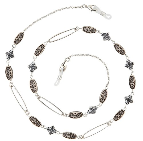 Beaded Eyeglass Chain Holder, Silver Fashion Lanyard Necklace, Emma