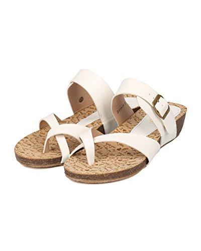Alrisco Sandale À Semelle Compensée En Similicuir Pour Femme - Split Orteil Courroie De Cou-de-pied Casual- Ha52 En Similicuir Blanc