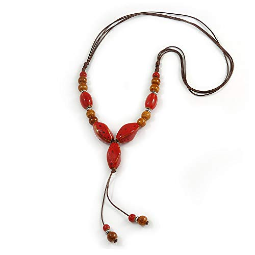 Avalaya Long Red/Brown Ceramic Bead Tassel Cord Necklace - 60cm to 80cm Long (Adjustable) ()