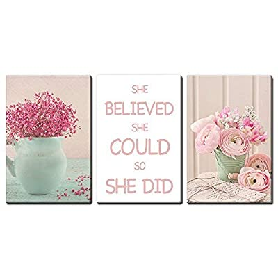 Astonishing Handicraft, Premium Product, 3 Panel Flowers in Vase with She Believed She Could So She Did Quotes x 3 Panels