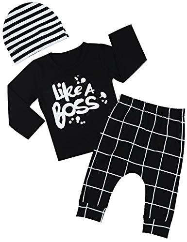 Baby Boy Girl Clothes Long Sleeve T-Shirt Tops and Pants with Hat Outfits Pant Sets(18-24 Months)