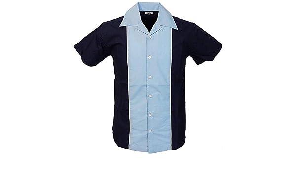 Relco Hombre Manga Corta Bolos Camisa en Azul Marino/Azul Cielo Talla M - XXXL: Amazon.es: Ropa y accesorios