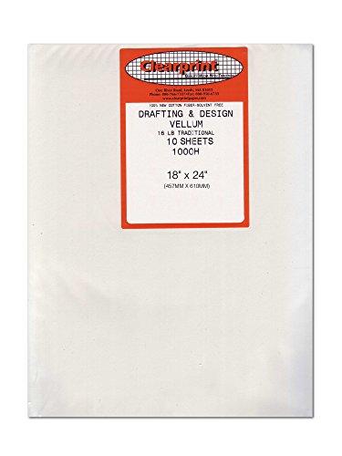 Clearprint 1000H Series 18 x 24 Inches Unprinted Vellum - 10-Sheet Pack (CP10201222)