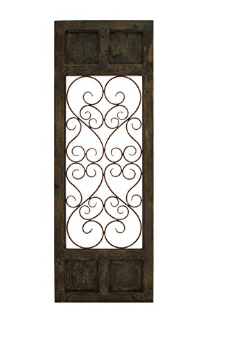 benzara wood metal wall panel dark brown color with classic style