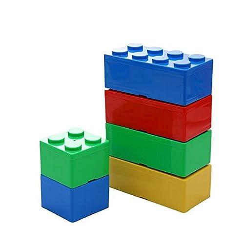 1Pcs Building Block Shapes Plastic Storage Box Saving Space Superimposed  Desktop Handy Office House Keeping Stationery