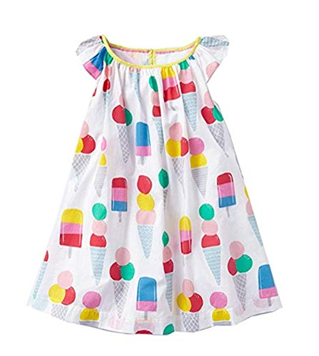 Toddler Girls Summer Dresses Short Sleeve Outfit Cotton Pajamas Top Ice CreamCasual Tunic Dress -
