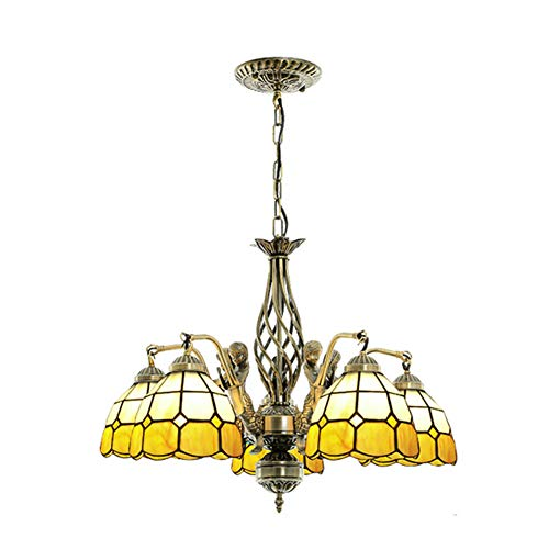 Vintage Tiffany Style E26 Chandelier, Stained Glass Shade Ceiling Lamps Classic Bedroom Hotel Decor Ceiling Lamp-5-lights 60x46cm