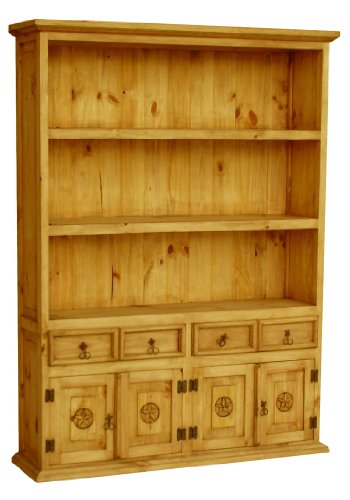 Western Pine Bookcase (Rustic Pine ?Large Sky Bookcase With Star with Honey Pine Finish)