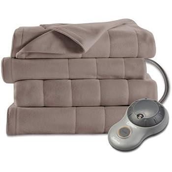 Sunbeam Heated Blanket | 10 Heat Settings, Quilted Fleece, Mushroom, King - BSF9GKS-R772-13A00