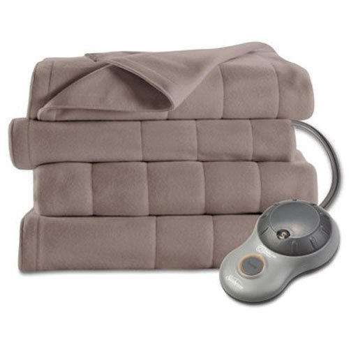Sunbeam Heated Blanket | 10 Heat Settings, Quilted Fleece, Mushroom, Twin