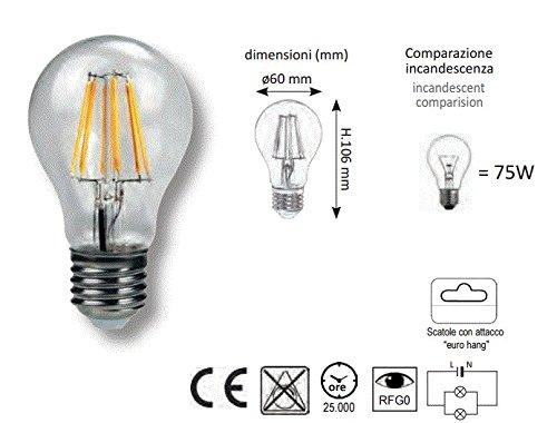 Comparazione Watt Lumen Led.Zip X Pack Of 3 Fl60e27bc 8 W 75 W Incandescent Bulb 220 V