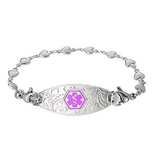 Divoti Deep Custom Laser Engraved Lovely Filigree Medical Alert Bracelet -Stainless Heart Link-Purple