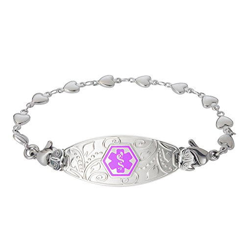 Divoti Custom Engraved Medical Alert Bracelets for Women, Stainless Steel Medical Bracelet, Medical ID Bracelet w/Free Engraving - Lovely Filigree Tag w/Heart Link-Purple-7.5