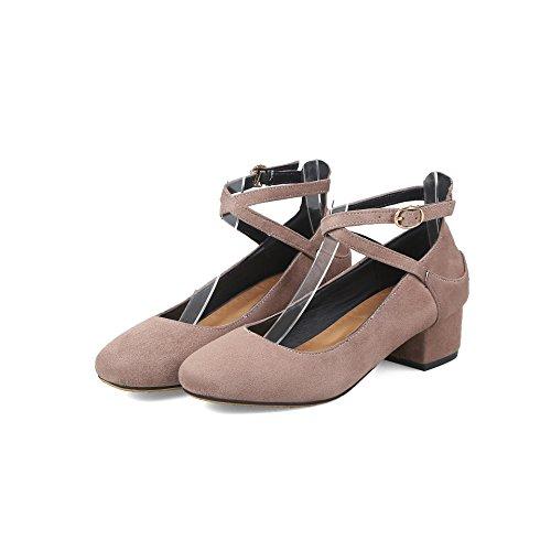 Mei&S Las Mujeres del Bloque Talón Talones Cabeza Redonda Boca Superficial Zapatos Apricot