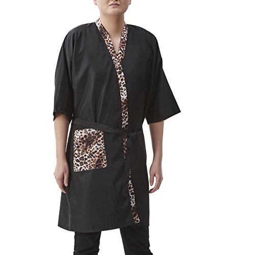 Colorfulife Salon Client Gown Robe Smock Kimono with 2 Front Leopard Pocket Hairdressing Cape Dress Beauty SPA Hotel Guest Clothes Night-gown Wrap A004 (Black)