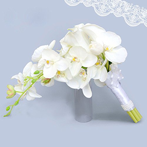 Baisheng Elegant Cascade Bridal Bouquet- ivory artificial Calla Lily and - Orchid Bouquet Calla Lily
