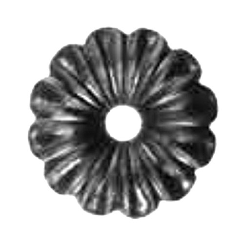 Foro di 15m Rosetta decorativa in ferro battuto grezzo Diametro 95mm Spessore 3mm.