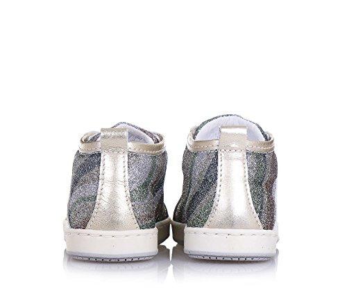 BALOCCHI - Mehrfarbiger Schuh mit Schnürsenkeln, aus Glitzern und Leder, aus hochwertigen natürlichen Materialien, Mädchen