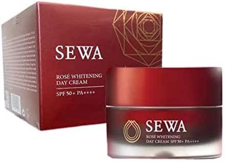 SEWA Rose Whitening Day Cream SPF50+ PA+++ Skin rejuvenation With skin care that covers all skin problems By Voonsen (30 Ml)