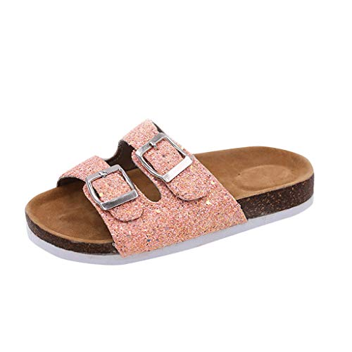 Original Women's Sequins Double Buckle Flat Beach Slippers Fashion Thick Bottom Sandals Open Toe House Slippers Shower Shoes Pink