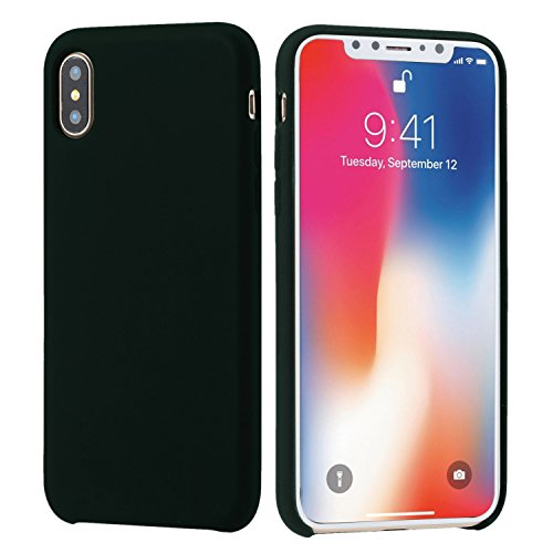 Amicool iPhone X Case, Soft Liquid Silicone Protective Cover Case with Soft Microfiber Cloth Lining Cushion for Apple iPhone X/10 5.8inch (Black)