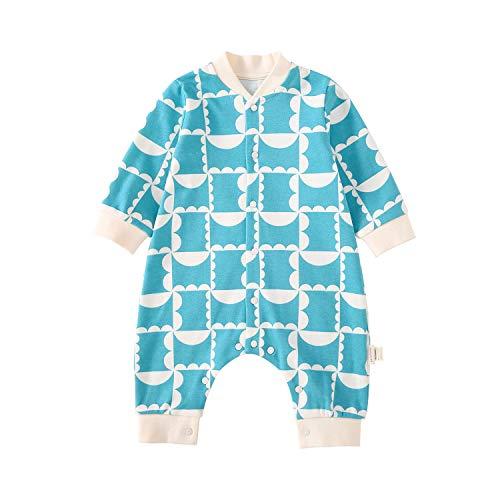 pureborn Cotton Baby Boy Girl Coveralls Sleep N Play Footless Long Sleeve Plaid Pajamas Jumpsuit One Piece Aquamarine 6-9 Months