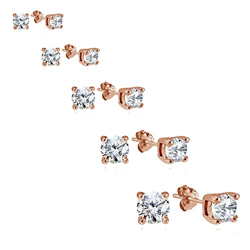 Rose Gold Flashed Sterling Silver Cubic Zirconia Set of 5 Round Stud Earrings