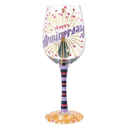 "Designs by Lolita ""Happy Anniversary"" Hand-painted Artisan Wine Glass, 15 (Anniversary Wine)"