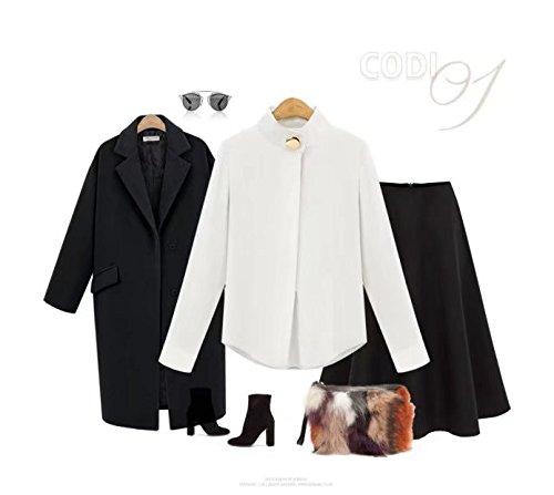 Blouse Lache Mousseline de Femmes T Manches Soie Blanc en Longues Shirt ClairSue Casual P6XqU