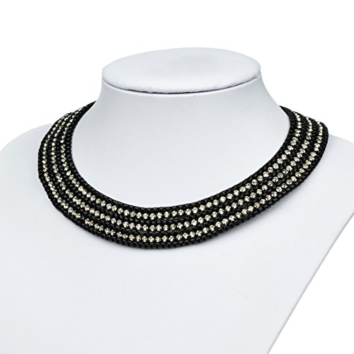 Btime Fashion Trendy Simple Temperament Women Link Chain Three Line Crystal Chokers Necklaces