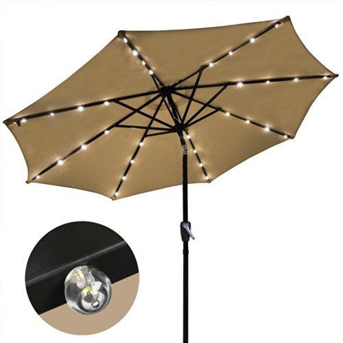 9' Solar Aluminium Outdoor Tilt Patio Umbrella w/ 32 LEDs Tan, Model: AV-07UMB005-9ALLED-01-N, Home/Garden & Outdoor Store by Garden & Patio