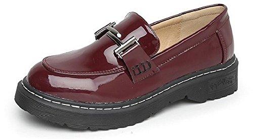 Scarpe Donna Oxford Scarpe Slip On In Pelle Piatte Di Jiye Rosso