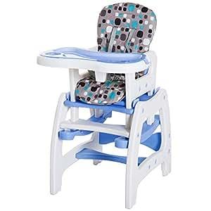 HOMCOM Trona para Bebé 3 en 1 Convertible en Silla Mercedora y Silla+Mesa con Cinturón de Seguridad (Blanco y Azul)