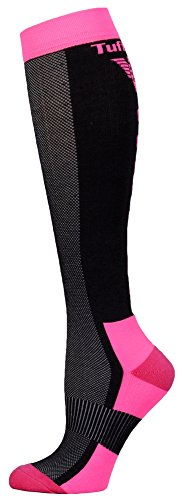 Price comparison product image TuffRider Ventilated Neon Knee Hi Socks | Color - Charcoal/NeonPink | Size - Standard