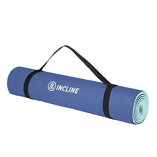 Incline Fit 1475 Anti Slip Double Sided Yoga, Pilates, Stretching, Meditation, Floor and Fitness Exercises Mat, 6mm, Aquamarine