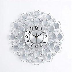 HONGLIAN Explosion Models Living Room Clocks Shells Simple Art Wall Charts Creative Clock Modern Quartz Wall Clock (Color : S Brushed Silver)